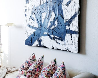 Designer Pillow Cover Handmade Neon Abstract Floral Pillow Cover Home Decor Decorator Fabrics