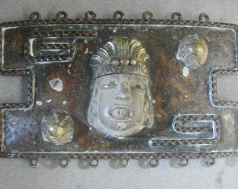 Large CASA MAYA Belt Buckle - Precolumbian Mask