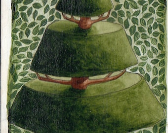 Reproduction ACEO Topiary with Leaves