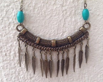 BIRDPERSON - bronze and turquoise bib necklace