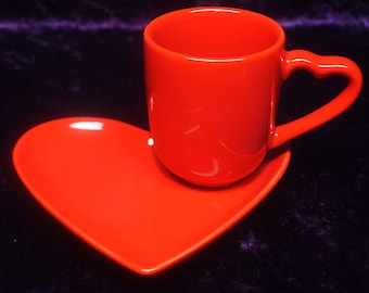 HEART PLATE W/ Demitasse Cup
