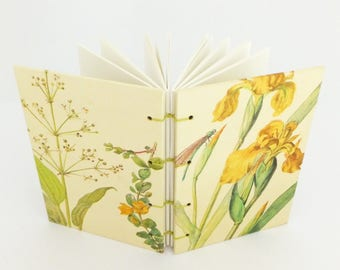 Summer Journal, Personalised Botanical Notebook, Blank Notebook, Boho wedding guestbook, Yellow, Sketchbook, Nature Notebook, Travel Journal