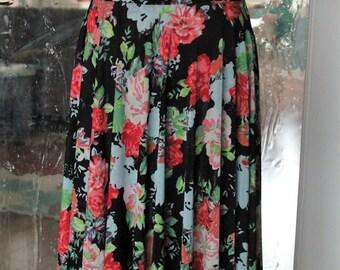 Floral Circle Skirt - Calf Length
