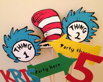 Dr Seuss inspired Center piece, personalized,Thing 1, Thing 2, Happy Birthday, Cat in the Hat party