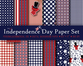 8.5 x 11 Independence Day Patriotic Digital Paper, 8.5 x 11 print, July 4, independence day, memorial day, red blue white, tablecloth picnic