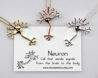 Neuron Necklace in Silver or Gold, Silver Neuron Pendant, Nerve Necklace, Sterling Silver Science Jewelry, Biology Necklace, Scientist Gifts