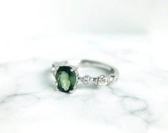 Silver Green Tourmaline Ring, Solitaire Engagement Ring, 925 Silver Tourmaline Ring, Dark Green Tourmaline Ring, Sterling Silver Rose Ring