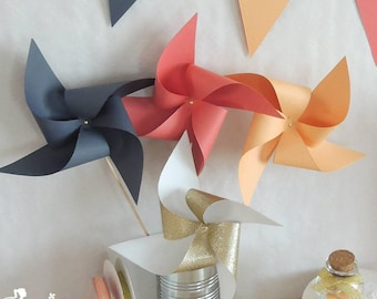 Set of 10 pinwheels wind peach, coral, gray and gold 15cm