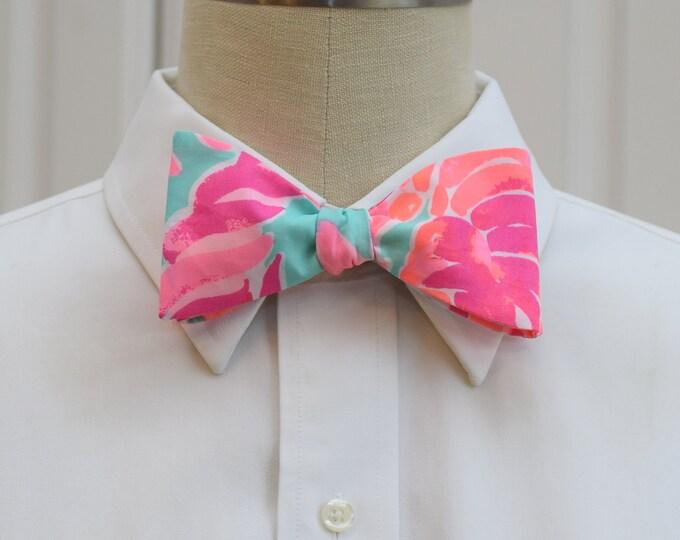Men's Bow Tie, Lovebirds aqua/hot pink/coral Lilly bow tie, wedding party/groom/groomsmen bow tie, prom bow tie, Kentucky Derby bow tie