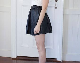 Vintage Leather Mini A-Line skirt