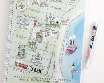 Large New Orleans Watercolor Map Spiral Bound Journal Notebook