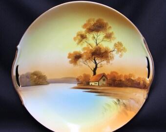 "Vintage Noritake ""Tree in the Meadow"" 9 1/2 inch 2-handled Plate"