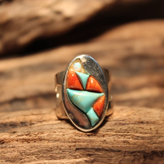 Large Sterling  Silver Turquoise Ring Desert Rose Trading 8.8 grams Size 7.75 large Sterling Silver Turquoise Coral Fire Opel Inlay Ring
