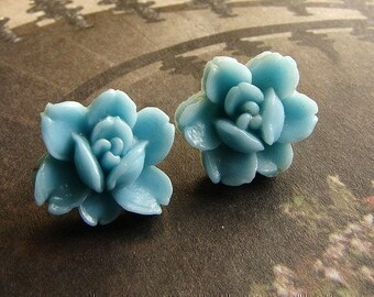 Vintage aqua rose studs, Vintage rose post earrings - rose cameo in seafoam, aqua, sky, mist