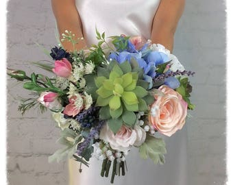 Wedding Bouquet, Bridal Bouquet, Succulent Bouquet, Artificial Bouquet, Silk Bouquet, Corsage, Boutonniere