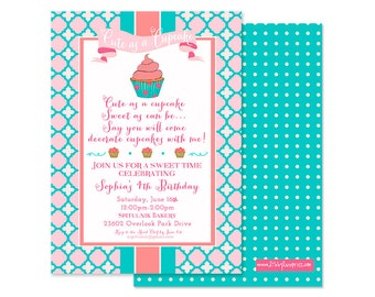 Cute as a CUPCAKE Birthday Invitation, As Seen on Hostess with the Mostess, Digital or Professional Printed Invitation