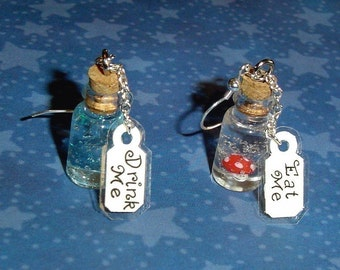 Alice in Wonderland - Drink Me and Eat Me Bottle Earrings