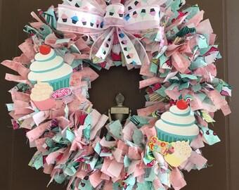 Yummy Cupcake Cotton Candy Cotton Rag Wreath