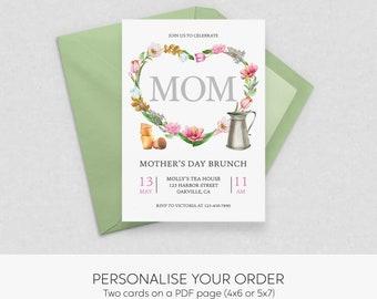 Mother's Day Brunch  Invitation   Custom Digital Printable   mothers day brunch, mothers day tea, mothers day invitation