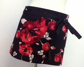 Market Apron De-Stash - Half Apron - Reversible Art Apron - Half Price - Pink Rose