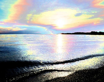 Rainbow Beach 16x20 Modern Abstract Art Photography Kelleys Island Lake Erie Twilight Color Photo Home Decor Wall Art