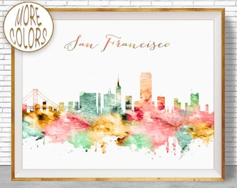 San Francisco Print San Francisco Art San Francisco Skyline San Francisco California Skyline Art ArtPrintZone