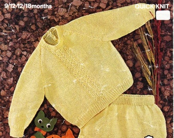 """baby sweater and pants knitting pattern pdf baby rompers romper suit jumper 22-23"""" 9-18months QK 5ply pdf instant download"""