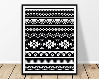 Geometric poster, Printable artwork, Black and white art, Aztec print, Tribal wall art, Boho wall decor, Chevron art, Hippie home decor