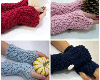 Chunky Knit Fingerless Mittens, Choose Your Own Color Fingerless Mittens, Made to Order Fingerless Mittens,  Button Cuff Armwarmers, Mittens