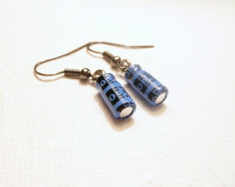 Geek Earrings, Recycled Capacitors, petite blue and black dangle, surgical steel earwires, Geek Sheek Jewelry