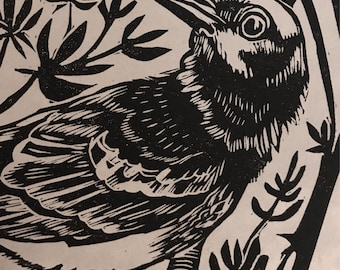 "Original Linocut Block Print ""Mockingbird,"" Wall Art Print, Handmade by Robyn Denny"