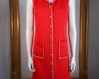 Vintage 1970's Butte Knit Red Sailor Style Dress - Size 8