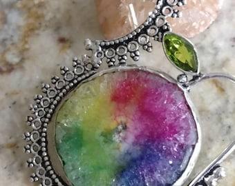 Rainbow Solar Quartz Slice Pendant Necklace