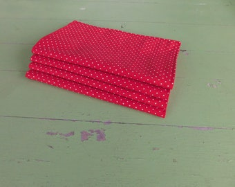 Everyday Cloth Napkins, Set of 4, Red Mini Dot