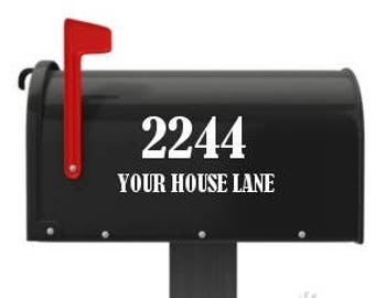 Mailbox House Numbers Street Name Decal Vinyl Lettering