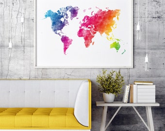Rainbow World Map Rainbow Watercolor World Map, Colorful World Map Print, Colorful World Map Colorful, World Map Wall Art