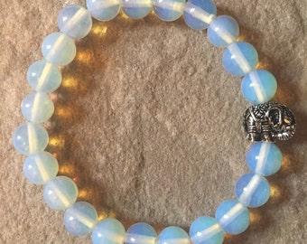 Moonstone 8mm semi precious gemstone bracelet with an elephant charm