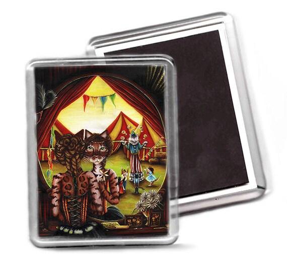 Circus Cat Fridge Magnet, Big Top Tents, Bengal Cat Art Magnet