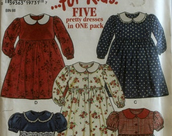 Girls Dress Sewing Pattern  - 5 Variations - New Look 6581 - New - Uncut - Size 2 - 3 - 4 - 5 - 6 - 7