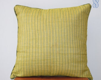 Lime Green Pintuck Cushion Cover