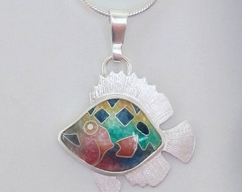 Enamel fish pendant - Cloisonne fish pendant - Spotfin Butterflyfish pendant - this piece is made to order