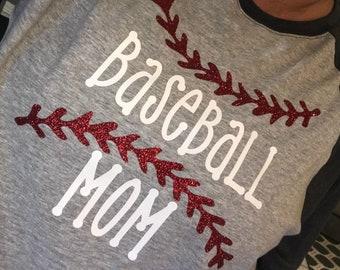 Baseball Mom **Customizable Shirt** ~ Glitter / Double Sided Baseball Mom Shirt ~