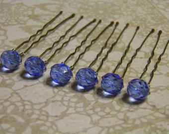 6 Sapphire Blue 8mm Crystal Hair Pins