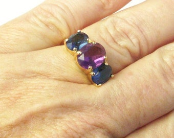 Large Crystal Amethyst Two Sapphire Blue Crystals Gold Tone 1980's Costume Jewelry Vintage Ring Gift For Her Best Deal on Etsy