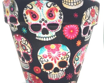 Day Of The Dead Skulls Black Flower Pot (Medium)