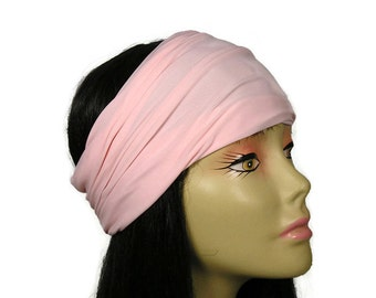 Pink Lycra Head Wrap Pink Head Wrap Pink Lycra Headband Wide Stay in Place Workout Head Wrap Workout Headband Yoga Head Wrap  Lycra Headband
