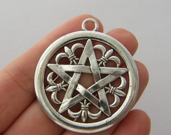 BULK 3 Pentagram charms antique silver tone HC16