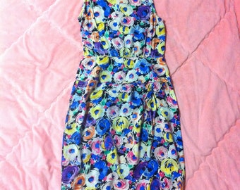 80s 90s Adrianna Papell Vintage Silk Floral Dress, Vintage Silk Floral Dress, Colorful Rainbow Watercolor Floral Dress, Vintage Silk Dress
