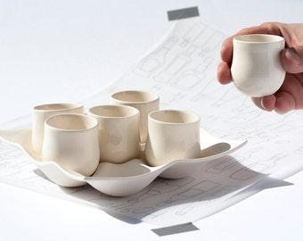 Ceramic Pottery Set, Shot Glasses Set, Stoneware Cup, White Pottery, Bridesmaid Gift Set, Anniverssary Gift, Shabby Chic Decor, Mini Cups