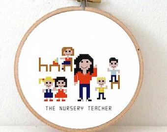 2 x Nursery teacher gift.  Pixel people pattern back to school gift. elementary teacher gift. Christmas gift for children teacher.
